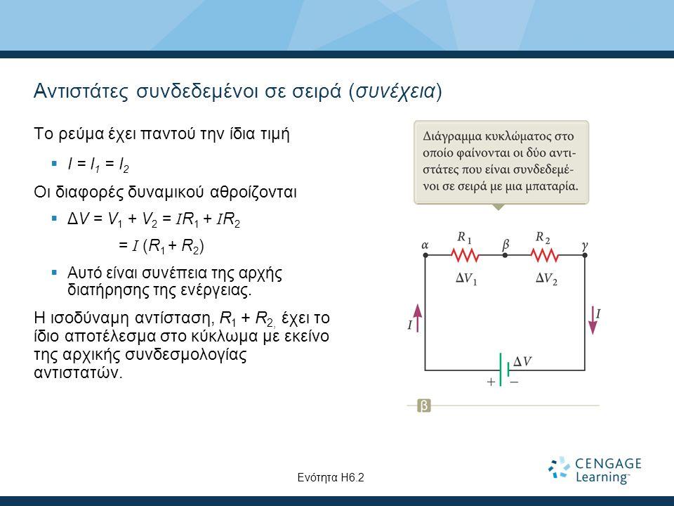 Αντιστάτες συνδεδεμένοι σε σειρά (συνέχεια) Το ρεύμα έχει παντού την ίδια τιμή  I = I 1 = I 2 Οι διαφορές δυναμικού αθροίζονται  ΔV = V 1 + V 2 = I