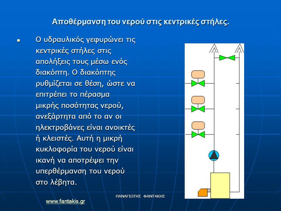 www.fantakis.gr ΠΑΝΑΓΙΩΤΗΣ ΦΑΝΤΑΚΗΣ Αποθέρμανση του νερού στις κεντρικές στήλες. Ο υδραυλικός γεφυρώνει τις κεντρικές στήλες στις απολήξεις τους μέσω