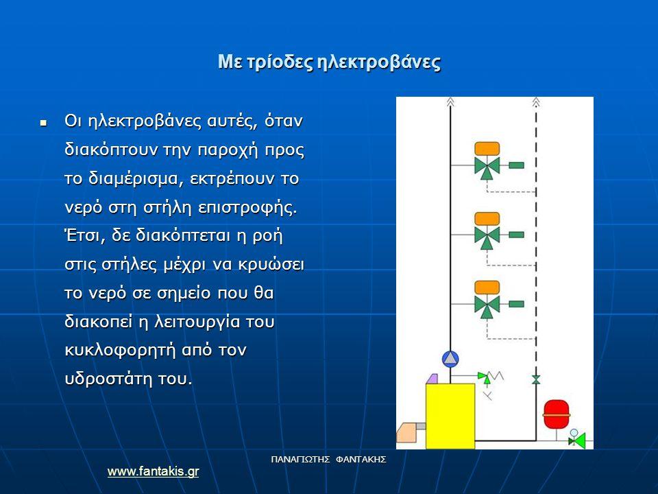 www.fantakis.gr ΠΑΝΑΓΙΩΤΗΣ ΦΑΝΤΑΚΗΣ Με τρίοδες ηλεκτροβάνες Οι ηλεκτροβάνες αυτές, όταν διακόπτουν την παροχή προς το διαμέρισμα, εκτρέπουν το νερό στ