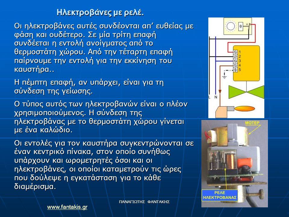 www.fantakis.gr ΠΑΝΑΓΙΩΤΗΣ ΦΑΝΤΑΚΗΣ Ηλεκτροβάνες με ρελέ. Οι ηλεκτροβάνες αυτές συνδέονται απ' ευθείας με φάση και ουδέτερο. Σε μία τρίτη επαφή συνδέε