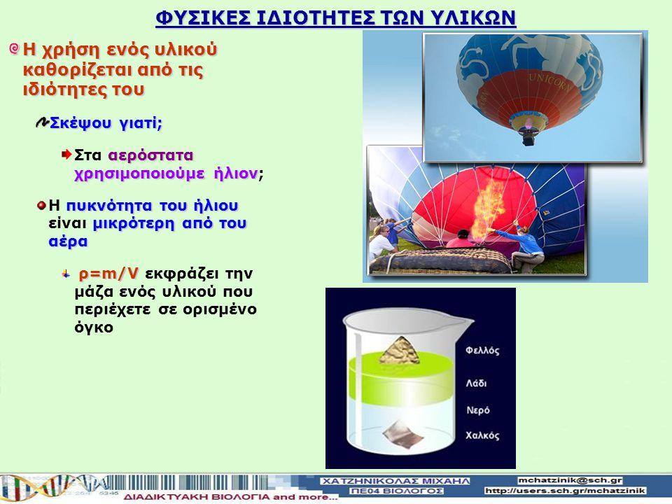 ΦΥΣΙΚΕΣ ΙΔΙΟΤΗΤΕΣ ΤΩΝ ΥΛΙΚΩΝ Η χρήση ενός υλικού καθορίζεται από τις ιδιότητες του Σκέψου γιατί; αερόστατα χρησιμοποιούμε ήλιον Στα αερόστατα χρησιμοποιούμε ήλιον; πυκνότητα του ήλιου μικρότερη από του αέρα Η πυκνότητα του ήλιου είναι μικρότερη από του αέρα ρ=m/V ρ=m/V εκφράζει την μάζα ενός υλικού που περιέχετε σε ορισμένο όγκο