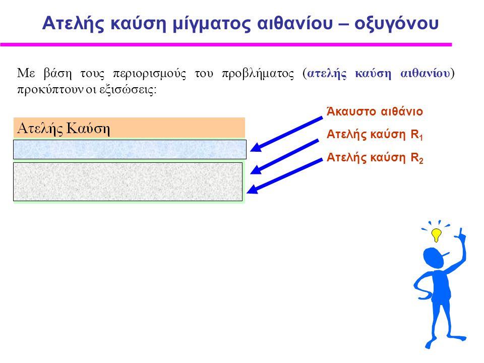Με βάση τους περιορισμούς του προβλήματος (ατελής καύση αιθανίου) προκύπτουν οι εξισώσεις: Ατελής καύση μίγματος αιθανίου – οξυγόνου Άκαυστο αιθάνιο Ατελής καύση R 1 Ατελής καύση R 2