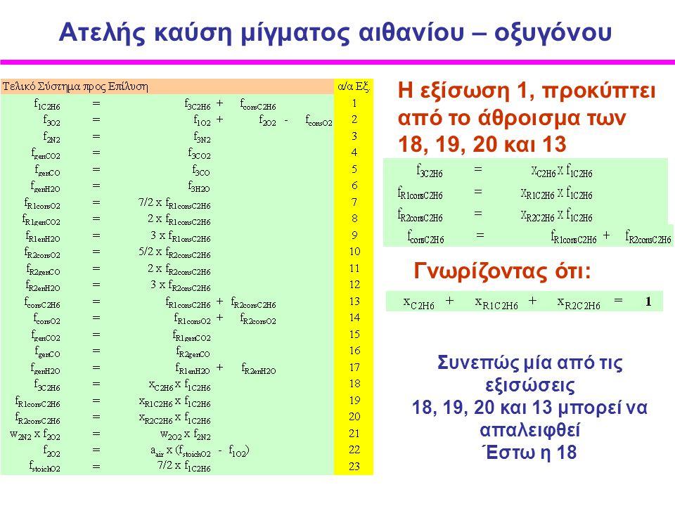 Ατελής καύση μίγματος αιθανίου – οξυγόνου Η εξίσωση 1, προκύπτει από το άθροισμα των 18, 19, 20 και 13 Γνωρίζοντας ότι: Συνεπώς μία από τις εξισώσεις 18, 19, 20 και 13 μπορεί να απαλειφθεί Έστω η 18