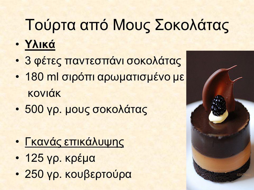 Τούρτα από Mους Σοκολάτας Υλικά 3 φέτες παντεσπάνι σοκολάτας 180 ml σιρόπι αρωματισμένο με κονιάκ 500 γρ. μους σοκολάτας Γκανάς επικάλυψης 125 γρ. κρέ
