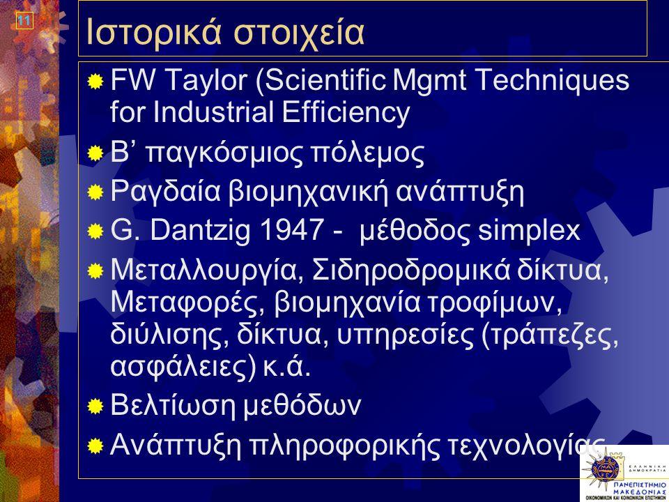 11 Ιστορικά στοιχεία  FW Taylor (Scientific Mgmt Techniques for Industrial Efficiency  Β' παγκόσμιος πόλεμος  Ραγδαία βιομηχανική ανάπτυξη  G.