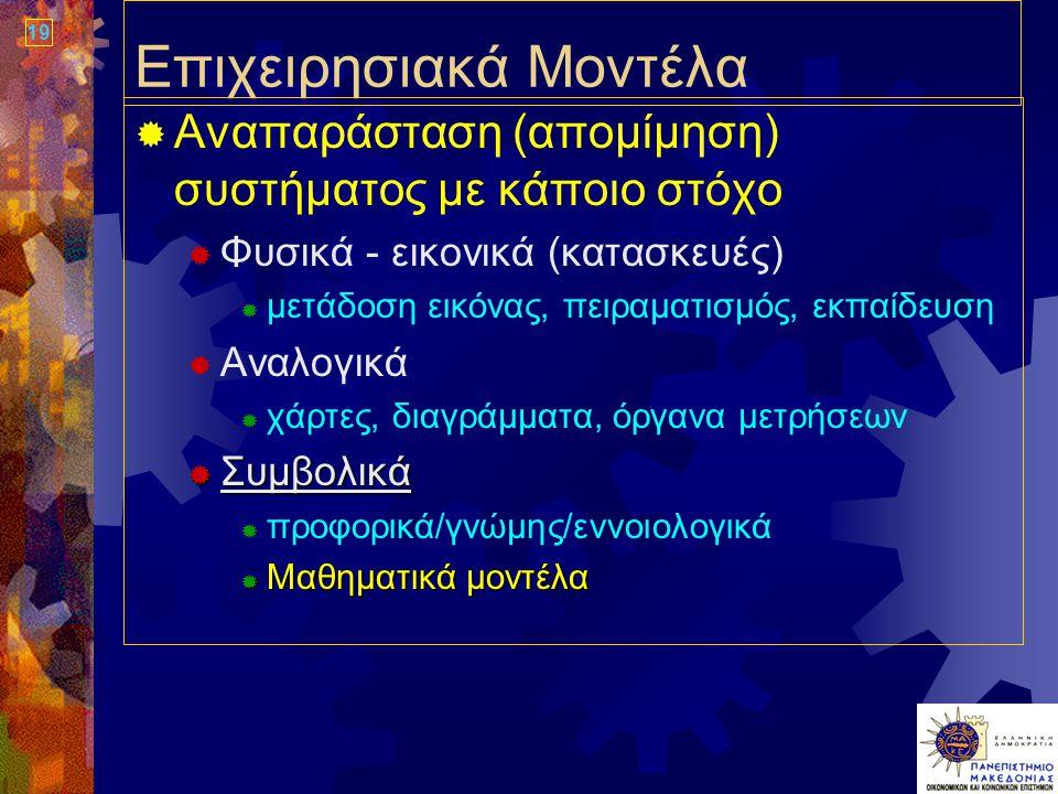 19 Επιχειρησιακά Μοντέλα  Αναπαράσταση (απομίμηση) συστήματος με κάποιο στόχο  Φυσικά - εικονικά (κατασκευές)  μετάδοση εικόνας, πειραματισμός, εκπαίδευση  Αναλογικά  χάρτες, διαγράμματα, όργανα μετρήσεων  Συμβολικά  προφορικά/γνώμης/εννοιολογικά  Μαθηματικά μοντέλα