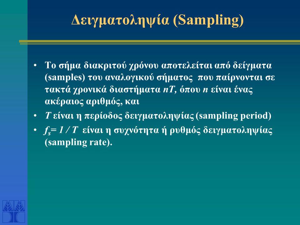 Δειγματοληψία (Sampling) Το σήμα διακριτού χρόνου αποτελείται από δείγματα (samples) του αναλογικού σήματος που παίρνονται σε τακτά χρονικά διαστήματα