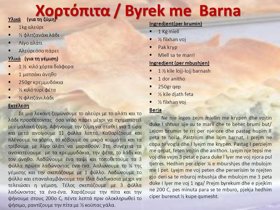 Χορτόπιτα / Byrek me Barna Υλικά (για τη ζύμη)  1kg αλεύρι  ½ φλιτζανάκι λάδι  Λίγο αλάτι  Αλεύρι όσο πάρει Υλικά (για τη γέμιση)  1 ½ κιλό χόρτα
