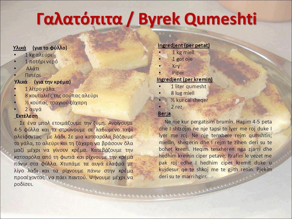 Γαλατόπιτα / Byrek Qumeshti Ingredjent (per petat) 1 kg miell 1 got oje Kry Piper Ingredjent (per kremin) 1 liter qumesht 8 lug miell ½ kur cai sheqer