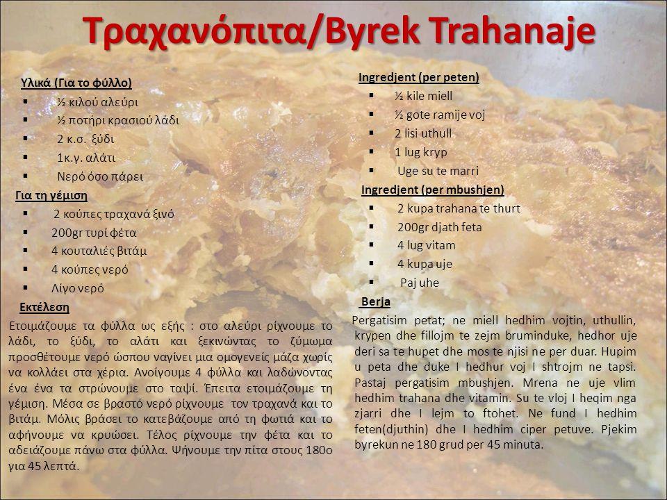 Τραχανόπιτα/Byrek Trahanaje Υλικά (Για το φύλλο)  ½ κιλού αλεύρι  ½ ποτήρι κρασιού λάδι  2 κ.σ. ξύδι  1κ.γ. αλάτι  Νερό όσο πάρει Για τη γέμιση 