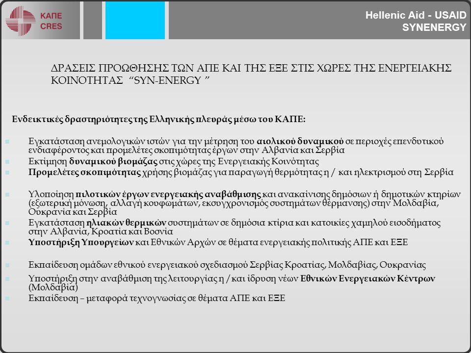 ΔΡΑΣΕΙΣ ΠΡΟΩΘΗΣΗΣ ΤΩΝ ΑΠΕ ΚΑΙ ΤΗΣ ΕΞΕ ΣΤΙΣ ΧΩΡΕΣ ΤΗΣ ΕΝΕΡΓΕΙΑΚΗΣ ΚΟΙΝΟΤΗΤΑΣ SYN-ENERGY Ενδεικτικές δραστηριότητες της Ελληνικής πλευράς μέσω του ΚΑΠΕ: Εγκατάσταση ανεμολογικών ιστών για την μέτρηση του αιολικού δυναμικού σε περιοχές επενδυτικού ενδιαφέροντος και προμελέτες σκοπιμότητας έργων στην Αλβανία και Σερβία Εκτίμηση δυναμικού βιομάζας στις χώρες της Ενεργειακής Κοινότητας Προμελέτες σκοπιμότητας χρήσης βιομάζας για παραγωγή θερμότητας η / και ηλεκτρισμού στη Σερβία Υλοποίηση πιλοτικών έργων ενεργειακής αναβάθμισης και ανακαίνισης δημόσιων ή δημοτικών κτηρίων (εξωτερική μόνωση, αλλαγή κουφωμάτων, εκσυγχρονισμός συστημάτων θέρμανσης) στην Μολδαβία, Ουκρανία και Σερβία Εγκατάσταση ηλιακών θερμικών συστημάτων σε δημόσια κτίρια και κατοικίες χαμηλού εισοδήματος στην Αλβανία, Κροατία και Βοσνία Υποστήριξη Υπουργείων και Εθνικών Αρχών σε θέματα ενεργειακής πολιτικής ΑΠΕ και ΕΞΕ Εκπαίδευση ομάδων εθνικού ενεργειακού σχεδιασμού Σερβίας Κροατίας, Μολδαβίας, Ουκρανίας Υποστήριξη στην αναβάθμιση της λειτουργίας η /και ίδρυση νέων Εθνικών Ενεργειακών Κέντρων (Μολδαβία) Εκπαίδευση – μεταφορά τεχνογνωσίας σε θέματα ΑΠΕ και ΕΞΕ Hellenic Aid - USAID SYNENERGY