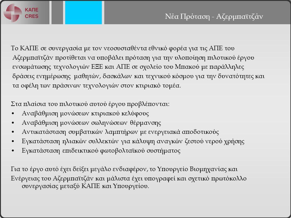 Νέα Πρόταση - Αζερμπαϊτζάν Το ΚΑΠΕ σε συνεργασία με τον νεοσυσταθέντα εθνικό φορέα για τις ΑΠΕ του Αζερμπαϊτζάν προτίθεται να υποβάλει πρόταση για την υλοποίηση πιλοτικού έργου ενσωμάτωσης τεχνολογιών ΕΞΕ και ΑΠΕ σε σχολείο του Μπακού με παράλληλες δράσεις ενημέρωσης μαθητών, δασκάλων και τεχνικού κόσμου για την δυνατότητες και τα οφέλη των πράσινων τεχνολογιών στον κτιριακό τομέα.