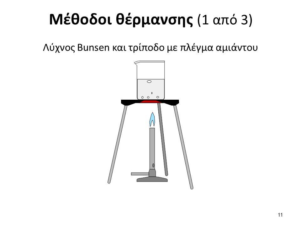 Μέθοδοι θέρμανσης (1 από 3) Λύχνος Bunsen και τρίποδο με πλέγμα αμιάντου 11