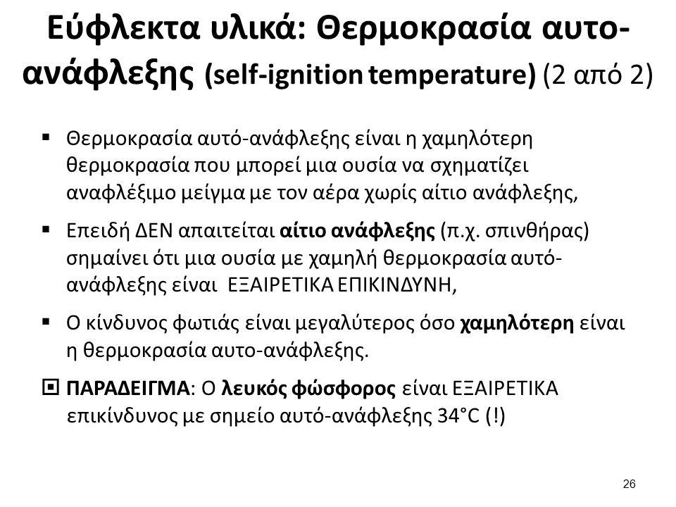 Εύφλεκτα υλικά: Θερμοκρασία αυτο- ανάφλεξης (self-ignition temperature) (2 από 2)  Θερμοκρασία αυτό-ανάφλεξης είναι η χαμηλότερη θερμοκρασία που μπορ