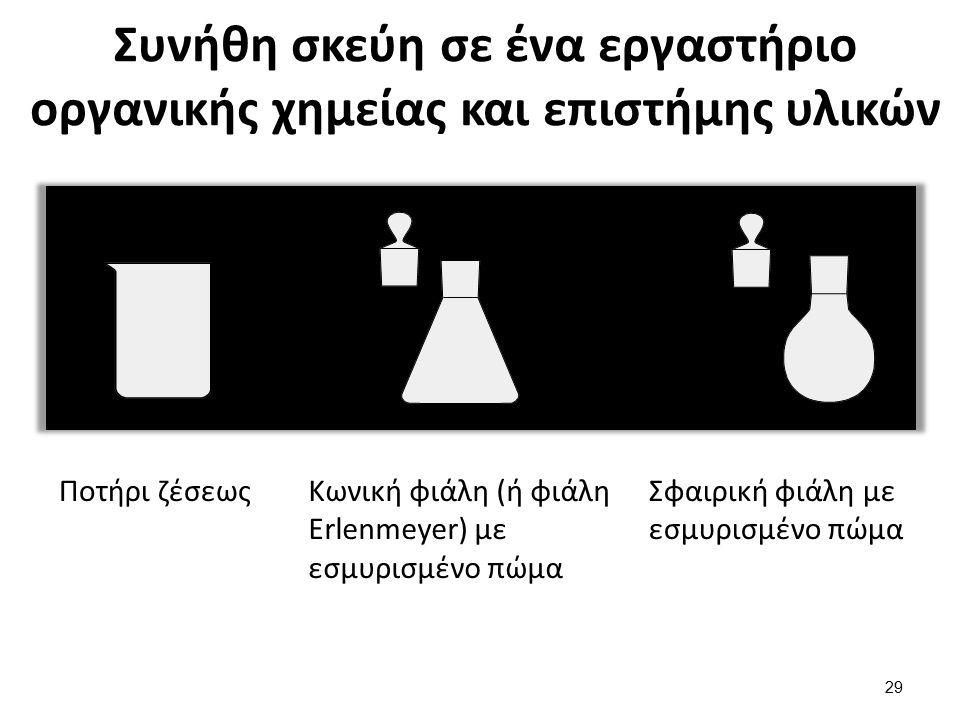 Συνήθη σκεύη σε ένα εργαστήριο οργανικής χημείας και επιστήμης υλικών Ποτήρι ζέσεωςΚωνική φιάλη (ή φιάλη Erlenmeyer) με εσμυρισμένο πώμα Σφαιρική φιάλ