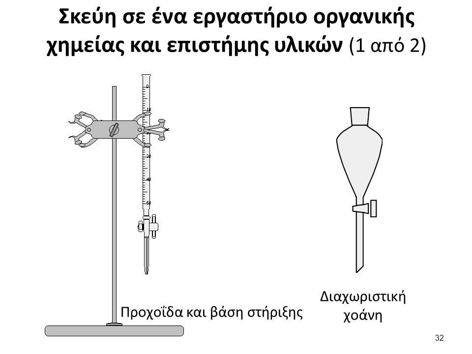 Σκεύη σε ένα εργαστήριο οργανικής χημείας και επιστήμης υλικών (1 από 2) Προχοΐδα και βάση στήριξης Διαχωριστική χοάνη 32