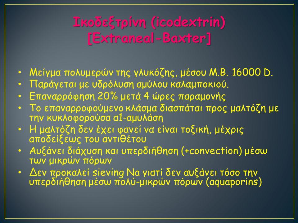 Ικοδεξτρίνη (icodextrin) [Extraneal-Baxter] Μείγμα πολυμερών της γλυκόζης, μέσου Μ.Β.