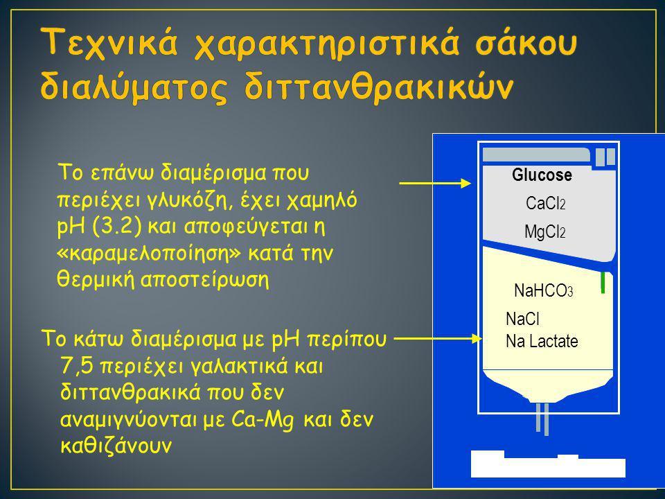 Το κάτω διαμέρισμα με pH περίπου 7,5 περιέχει γαλακτικά και διττανθρακικά που δεν αναμιγνύονται με Ca-Mg και δεν καθιζάνουν Glucose CaCl 2 MgCl 2 NaHCO 3 NaCl Na Lactate Το επάνω διαμέρισμα που περιέχει γλυκόζη, έχει χαμηλό pH (3.2) και αποφεύγεται η «καραμελοποίηση» κατά την θερμική αποστείρωση