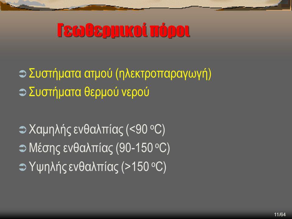 11/64 Γεωθερμικοί πόροι  Συστήματα ατμού (ηλεκτροπαραγωγή)  Συστήματα θερμού νερού  Χαμηλής ενθαλπίας (<90 o C)  Μέσης ενθαλπίας (90-150 o C)  Υψ