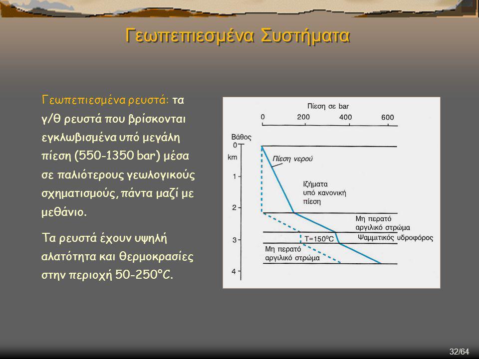 32/64 Γεωπεπιεσμένα Συστήματα Γεωπεπιεσμένα ρευστά: τα γ/θ ρευστά που βρίσκονται εγκλωβισμένα υπό μεγάλη πίεση (550-1350 bar) μέσα σε παλιότερους γεωλ
