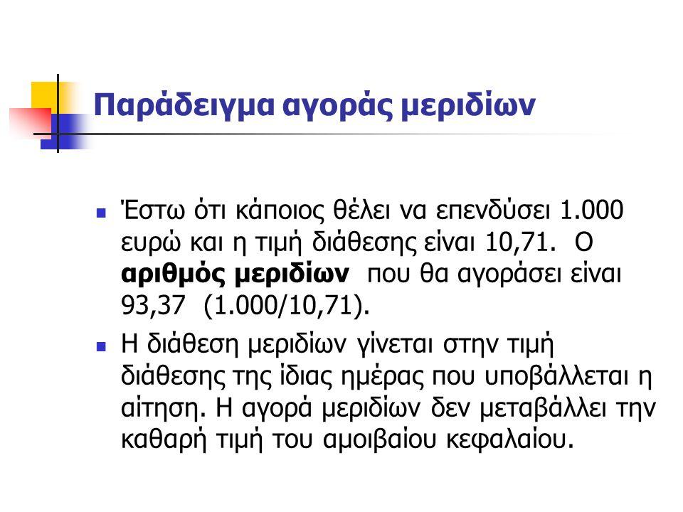 Παράδειγμα αγοράς μεριδίων Έστω ότι κάποιος θέλει να επενδύσει 1.000 ευρώ και η τιμή διάθεσης είναι 10,71. Ο αριθμός μεριδίων που θα αγοράσει είναι 93