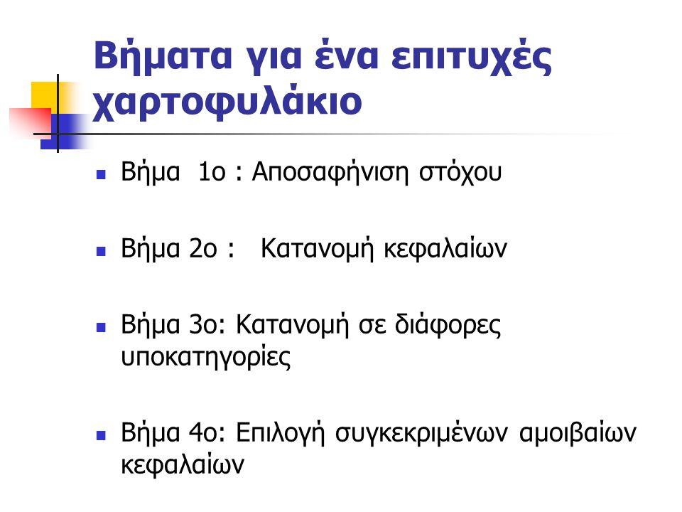 Βήματα για ένα επιτυχές χαρτοφυλάκιο Βήμα 1ο : Αποσαφήνιση στόχου Βήμα 2ο : Κατανομή κεφαλαίων Βήμα 3ο: Κατανομή σε διάφορες υποκατηγορίες Βήμα 4ο: Επ
