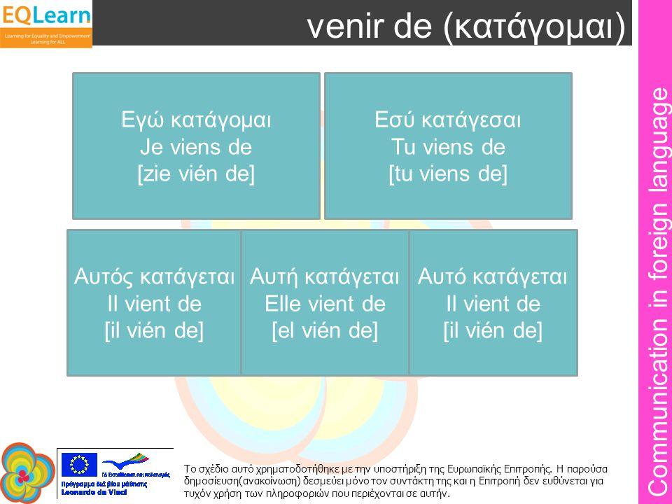 Communication in foreign language Το σχέδιο αυτό χρηματοδοτήθηκε με την υποστήριξη της Ευρωπαϊκής Επιτροπής.