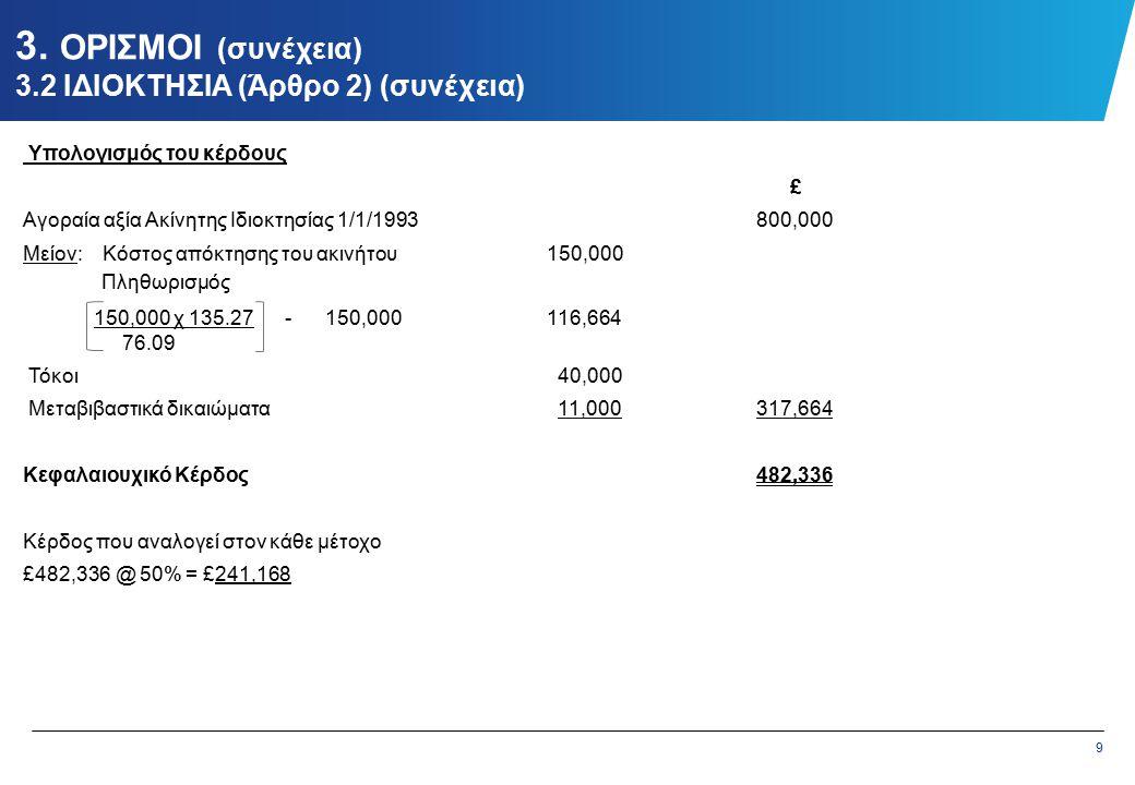 9 3. ΟΡΙΣΜΟΙ (συνέχεια) 3.2 ΙΔΙΟΚΤΗΣΙΑ (Άρθρο 2) (συνέχεια) Υπολογισμός του κέρδους £ Αγοραία αξία Ακίνητης Ιδιοκτησίας 1/1/1993800,000 Μείον: Κόστος