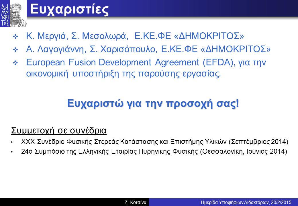 Ημερίδα Υποψήφιων Διδακτόρων, 20/2/2015Z. Κοτσίνα Ευχαριστίες  Κ.