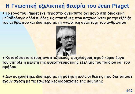 Η Γνωστική εξελικτική θεωρία του Jean Piaget  Καθόρισε τα 4 στάδια από τα οποία διέρχεται η νοητική ανάπτυξη του ανθρώπου  Κάθε στάδιο χαρακτηρίζεται από ορισμένες δυνατότητες οι οποίες και καθορίζουν το τι μπορεί να μάθει σε κάθε φάση της ζωής του ο άνθρωπος  Σε κάθε στάδιο επιτελούνται ορισμένες νοητικές διεργασίες, η ολοκλήρωση των οποίων οριοθετεί το τέλος του σταδίου αυτού, το οποίο παραχωρεί τη θέση του στο επόμενο 2/32
