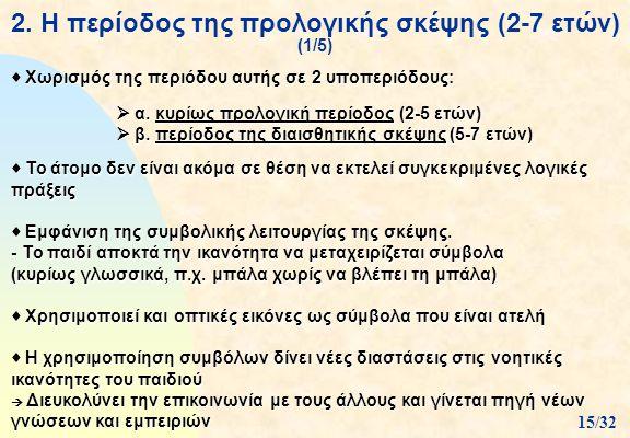 2. Η περίοδος της προλογικής σκέψης (2-7 ετών) (1/5)  Χωρισμός της περιόδου αυτής σε 2 υποπεριόδους:  α. κυρίως προλογική περίοδος (2-5 ετών)  β. π