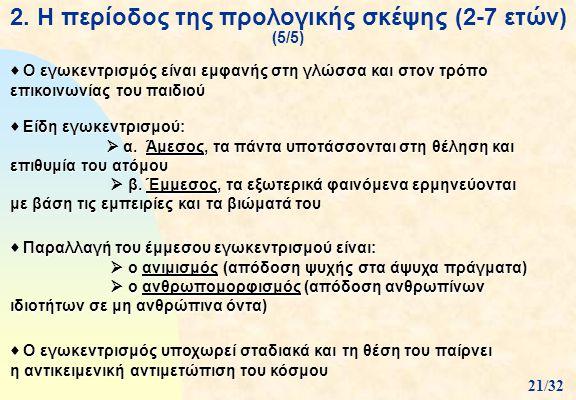 2. Η περίοδος της προλογικής σκέψης (2-7 ετών) (5/5)  Ο εγωκεντρισμός είναι εμφανής στη γλώσσα και στον τρόπο επικοινωνίας του παιδιού  Είδη εγωκεντ