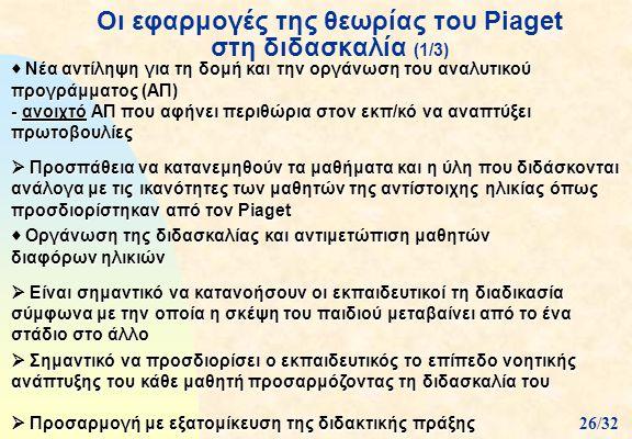 Οι εφαρμογές της θεωρίας του Piaget στη διδασκαλία (1/3)  Νέα αντίληψη για τη δομή και την οργάνωση του αναλυτικού προγράμματος (ΑΠ) - ανοιχτό ΑΠ που