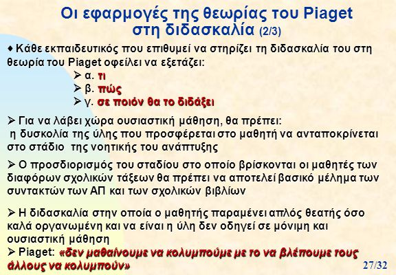 Οι εφαρμογές της θεωρίας του Piaget στη διδασκαλία (2/3)  Κάθε εκπαιδευτικός που επιθυμεί να στηρίζει τη διδασκαλία του στη θεωρία του Piaget οφείλει