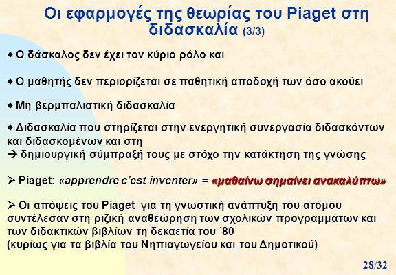 Οι εφαρμογές της θεωρίας του Piaget στη διδασκαλία (3/3)  Ο δάσκαλος δεν έχει τον κύριο ρόλο και  Ο μαθητής δεν περιορίζεται σε παθητική αποδοχή των