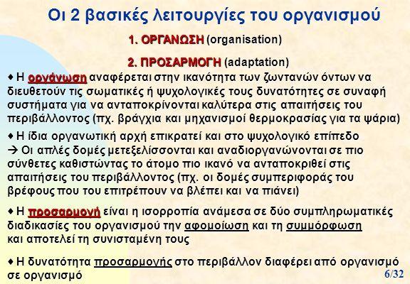 Οι 2 βασικές λειτουργίες του οργανισμού 1. ΟΡΓΑΝΩΣΗ (organisation) 2. ΠΡΟΣΑΡΜΟΓΗ (adaptation) 2. ΠΡΟΣΑΡΜΟΓΗ (adaptation)  Η οργάνωση αναφέρεται στην