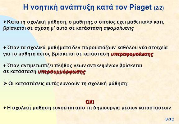 H νοητική ανάπτυξη κατά τον Piaget (2/2)  Κατά τη σχολική μάθηση, ο μαθητής ο οποίος έχει μάθει καλά κάτι, βρίσκεται σε σχέση μ' αυτό σε κατάσταση αφ