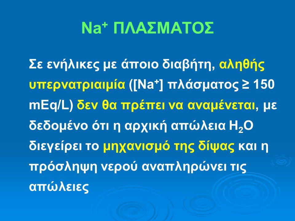 Σε ενήλικες με άποιο διαβήτη, αληθής υπερνατριαιμία ([Na + ] πλάσματος ≥ 150 mEq/L) δεν θα πρέπει να αναμένεται, με δεδομένο ότι η αρχική απώλεια H 2
