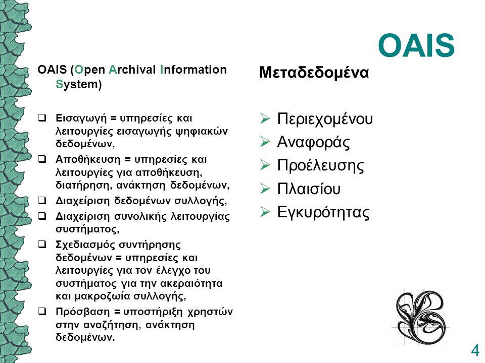 4 OAIS OAIS (Open Archival Information System)  Εισαγωγή = υπηρεσίες και λειτουργίες εισαγωγής ψηφιακών δεδομένων,  Αποθήκευση = υπηρεσίες και λειτουργίες για αποθήκευση, διατήρηση, ανάκτηση δεδομένων,  Διαχείριση δεδομένων συλλογής,  Διαχείριση συνολικής λειτουργίας συστήματος,  Σχεδιασμός συντήρησης δεδομένων = υπηρεσίες και λειτουργίες για τον έλεγχο του συστήματος για την ακεραιότητα και μακροζωία συλλογής,  Πρόσβαση = υποστήριξη χρηστών στην αναζήτηση, ανάκτηση δεδομένων.