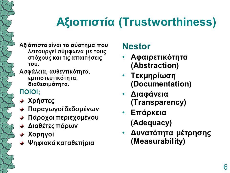 6 Αξιοπιστία (Trustworthiness) Αξιόπιστο είναι το σύστημα που λειτουργεί σύμφωνα με τους στόχους και τις απαιτήσεις του. Ασφάλεια, αυθεντικότητα, εμπι
