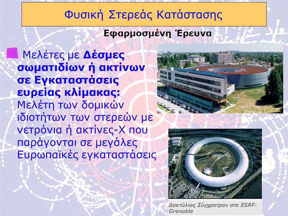 13 Φυσική Στερεάς Κατάστασης Μελέτες με Δέσμες σωματιδίων ή ακτίνων σε Εγκαταστάσεις ευρείας κλίμακας: Μελέτη των δομικών ιδιοτήτων των στερεών με νετρόνια ή ακτίνες-Χ που παράγονται σε μεγάλες Ευρωπαϊκές εγκαταστάσεις Εφαρμοσμένη Έρευνα
