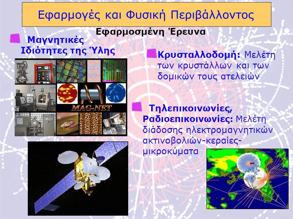 16 Εφαρμογές και Φυσική Περιβάλλοντος Μαγνητικές Ιδιότητες της Ύλης Τηλεπικοινωνίες, Ραδιοεπικοινωνίες: Μελέτη διάδοσης ηλεκτρομαγνητικών ακτινοβολιών-κεραίες- μικροκύματα Εφαρμοσμένη Έρευνα Κρυσταλλοδομή: Μελέτη των κρυστάλλων και των δομικών τους ατελειών