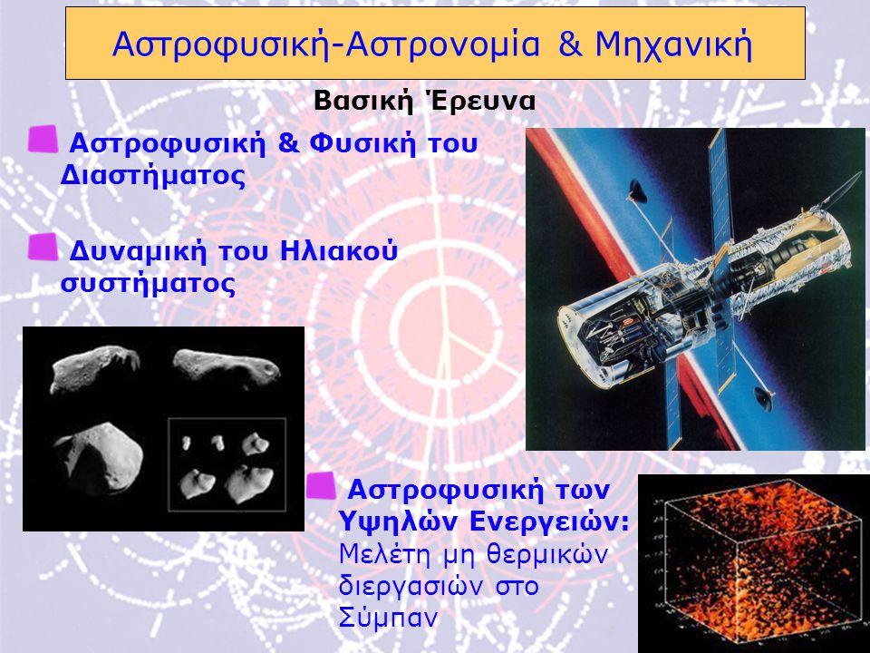 8 Αστροφυσική-Αστρονομία & Μηχανική Αστροφυσική & Φυσική του Διαστήματος Δυναμική του Ηλιακού συστήματος Βασική Έρευνα Αστροφυσική των Υψηλών Ενεργειών: Μελέτη μη θερμικών διεργασιών στο Σύμπαν
