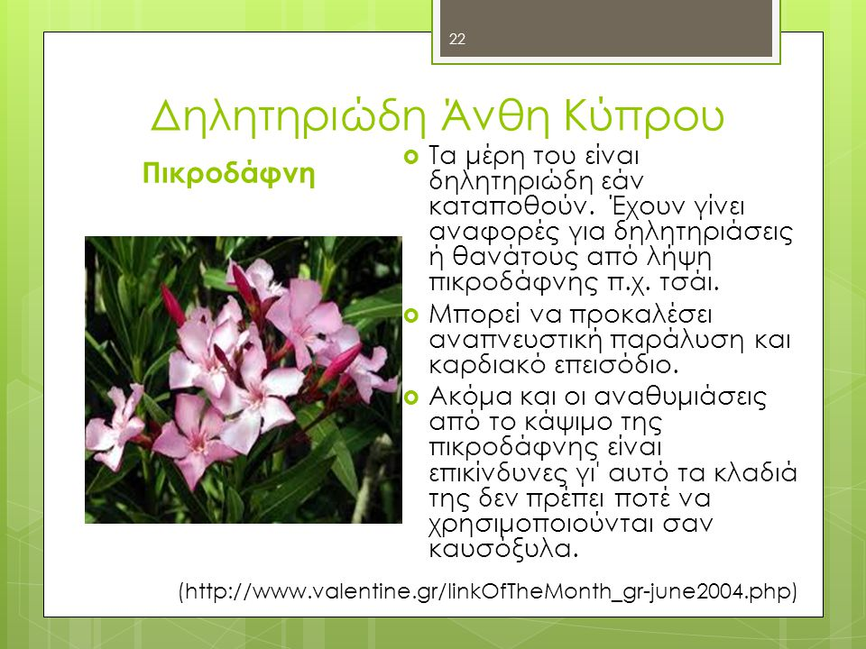 Δηλητηριώδη Άνθη Κύπρου Πικροδάφνη  Τα μέρη του είναι δηλητηριώδη εάν καταποθούν.