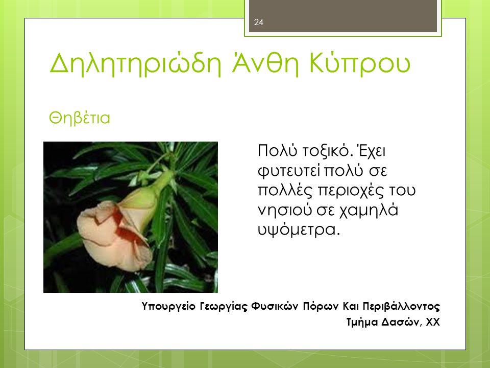 Δηλητηριώδη Άνθη Κύπρου Θηβέτια Υπουργείο Γεωργίας Φυσικών Πόρων Και Περιβάλλοντος Τμήμα Δασών, ΧΧ Πολύ τοξικό.