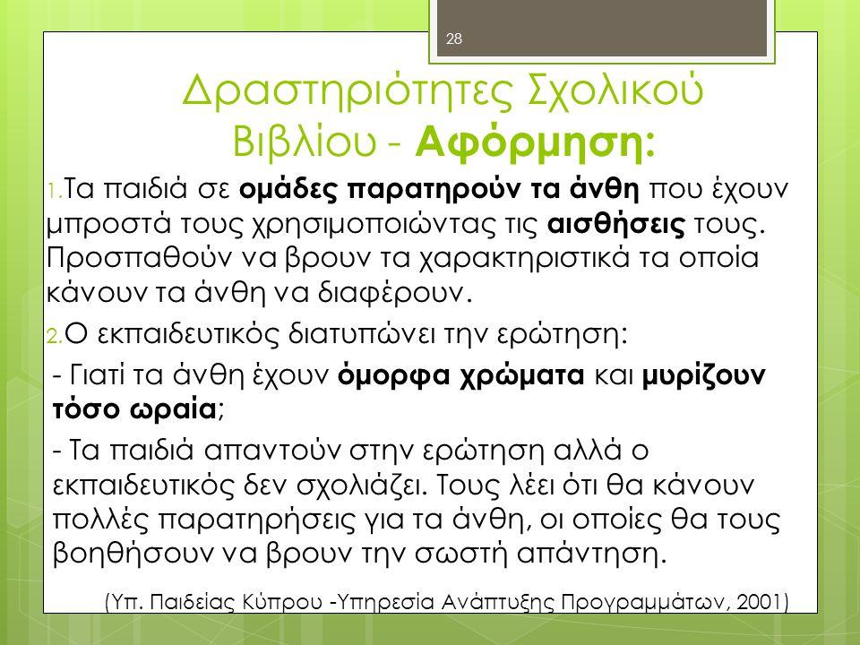 Δραστηριότητες Σχολικού Βιβλίου - Αφόρμηση: 1.