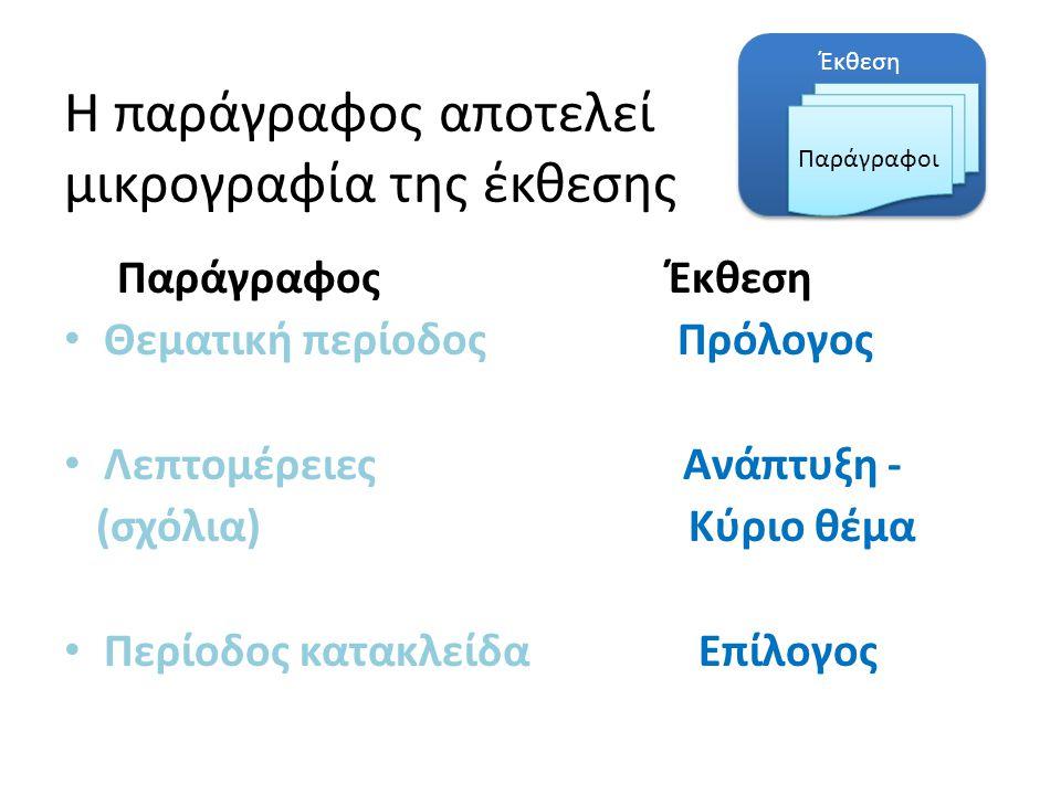 Έκθεση Η παράγραφος αποτελεί μικρογραφία της έκθεσης Παράγραφος Έκθεση Θεματική περίοδος Πρόλογος Λεπτομέρειες Ανάπτυξη - (σχόλια) Κύριο θέμα Περίοδος