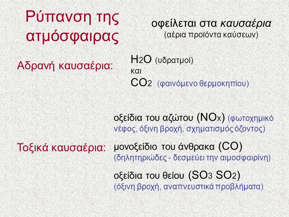Ρύπανση της ατμόσφαιρας οφείλεται στα καυσαέρια (αέρια προϊόντα καύσεων) Αδρανή καυσαέρια: Η 2 Ο (υδρατμοί) και CO 2 (φαινόμενο θερμοκηπίου) Τοξικά καυσαέρια: οξείδια του αζώτου (ΝΟ x ) (φωτοχημικό νέφος, όξινη βροχή, σχηματισμός όζοντος) μονοξείδιο του άνθρακα (CO) (δηλητηριώδες - δεσμεύει την αιμοσφαιρίνη) οξείδια του θείου (SO 3 SO 2 ) (όξινη βροχή, αναπνευστικά προβλήματα)