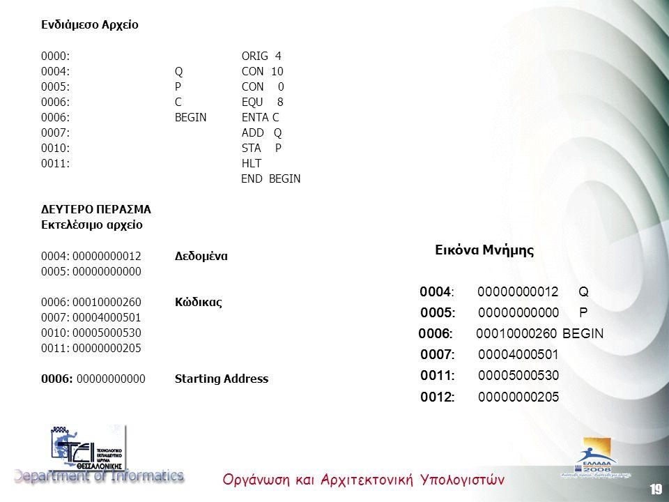 19 Οργάνωση και Αρχιτεκτονική Υπολογιστών Ενδιάμεσο Αρχείο 0000:ORIG 4 0004:Q CON 10 0005:P CON 0 0006:C EQU 8 0006:BEGIN ENTA C 0007:ADD Q 0010:STA P 0011:HLT END BEGIN ΔΕΥΤΕΡΟ ΠΕΡΑΣΜΑ Εκτελέσιμο αρχείο 0004: 00000000012 Δεδομένα 0005: 00000000000 0006: 00010000260 Κώδικας 0007: 00004000501 0010: 00005000530 0011: 00000000205 0006: 00000000000 Starting Address 0004: 00000000012 Q 0005: 00000000000 P 0006: 00010000260 BEGIN 0007: 00004000501 0011: 00005000530 0012: 00000000205 Εικόνα Μνήμης