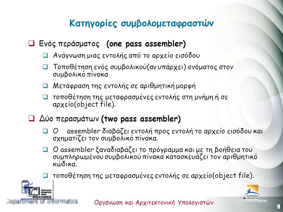 9 Οργάνωση και Αρχιτεκτονική Υπολογιστών Κατηγορίες συμβολομεταφραστών  Ενός περάσματος (one pass assembler)  Ανάγνωση μιας εντολής από το αρχείο εισόδου  Τοποθέτηση ενός συμβολικού(αν υπάρχει) ονόματος στον συμβολικό πίνακα  Μετάφραση της εντολής σε αριθμητική μορφή  τοποθέτηση της μεταφρασμένες εντολής στη μνήμη ή σε αρχείο(object file).